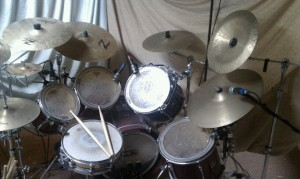 Joey's drum set up